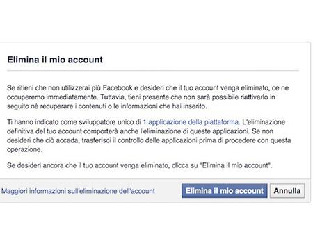 eliminare un account facebook